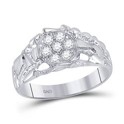 Mens Round Diamond Cluster Nugget Band Ring 1/4 Cttw 10kt White Gold - REF-23N5F