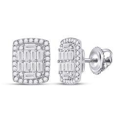 Womens Baguette Diamond Rectangle Cluster Earrings 1 Cttw 14kt White Gold - REF-82X9A