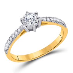 Round Diamond Solitaire Bridal Wedding Engagement Ring 1/3 Cttw 10kt Yellow Gold - REF-34F5W