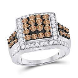 Womens Round Brown Diamond Square Cluster Ring 1-1/2 Cttw 10kt White Gold - REF-62X9A
