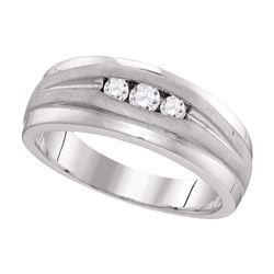 Mens Round Diamond Wedding Band Ring 1/4 Cttw 10kt White Gold - REF-32A9M