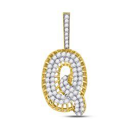 Mens Round Diamond Q Letter Charm Pendant 1-1/3 Cttw 10kt Yellow Gold - REF-63M5H