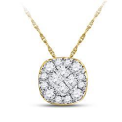 Womens Princess Diamond Square Pendant 1/4 Cttw 14kt Yellow Gold - REF-17K5Y