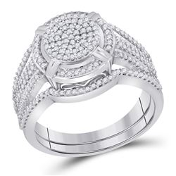 Round Diamond Cluster Bridal Wedding Ring Band Set 1/2 Cttw 10kt White Gold - REF-41N9F