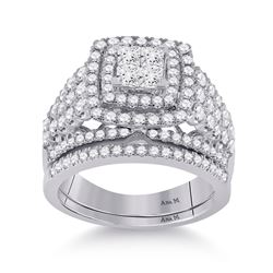 Princess Diamond Bridal Wedding Ring Band Set 1-3/4 Cttw 14kt White Gold - REF-131F5W