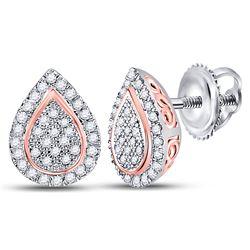 Womens Round Diamond Teardrop Earrings 1/5 Cttw 10kt Two-tone Gold - REF-14A9M