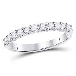 Womens Round Diamond Single Row Machine-set Wedding Band 1/2 Cttw 14kt White Gold - REF-38W9K