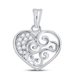 Womens Round Diamond Curl Heart Pendant 1/12 Cttw 10kt White Gold - REF-8W5K