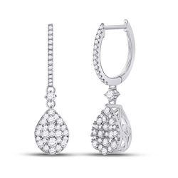 Womens Round Diamond Hoop Teardrop Dangle Earrings 1 Cttw 14kt White Gold - REF-71M9H