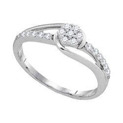 Womens Round Diamond Flower Cluster Slender Ring 1/4 Cttw 10kt White Gold - REF-18N9F