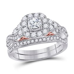 Round Diamond Bridal Wedding Ring Band Set 1 Cttw 14kt Two-tone Gold - REF-101H5R