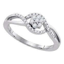 Womens Round Diamond Flower Cluster Twist Swirl Ring 1/4 Cttw 10kt White Gold - REF-21R9X