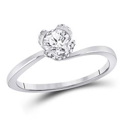 Womens Round Diamond Solitaire Bridal Wedding Engagement Ring 5/8 Cttw 14kt White Gold - REF-122N5F