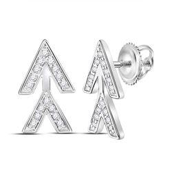 Womens Round Diamond Fashion Earrings 1/10 Cttw 14kt White Gold - REF-9R5X