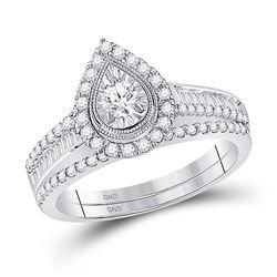 Round Diamond Bridal Wedding Ring Band Set 5/8 Cttw 10kt White Gold - REF-55Y9N