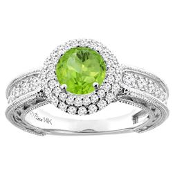 1.25 CTW Peridot & Diamond Ring 14K White Gold - REF-91A6X