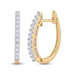 Womens Round Diamond Hoop Earrings 1/4 Cttw 14kt Yellow Gold - REF-27M9H