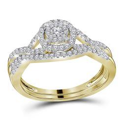 Round Diamond Bridal Wedding Ring Band Set 1/2 Cttw 14kt Yellow Gold - REF-52K9Y
