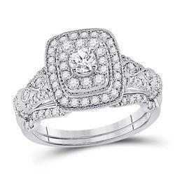 Round Diamond Bridal Wedding Ring Band Set 1 Cttw 14kt White Gold - REF-107M9H