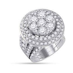 Round Diamond Cluster Bridal Wedding Ring Band Set 7 Cttw 14kt White Gold - REF-822M9H