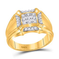Mens Round Diamond Cluster Ring 1/4 Cttw 10kt Yellow Gold - REF-25N5F