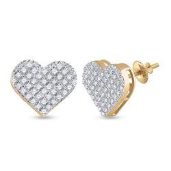 Womens Round Diamond Heart Earrings 1/4 Cttw 10kt Yellow Gold - REF-15A9M