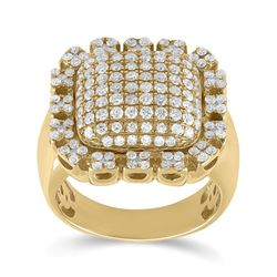 Mens Round Diamond Pillow Cluster Ring 2-1/2 Cttw 10kt Yellow Gold - REF-159X9A