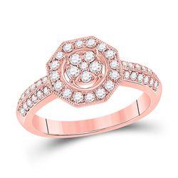 Womens Round Diamond Fashion Flower Cluster Ring 1/2 Cttw 14kt Rose Gold - REF-42R5X