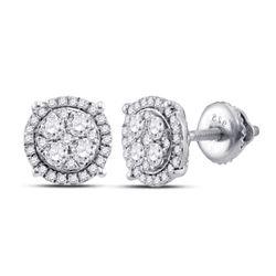 Womens Round Diamond Cluster Earrings 1/4 Cttw 10kt White Gold - REF-19F5W