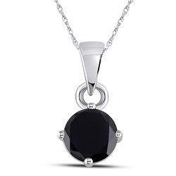 Womens Round Black Color Enhanced Diamond Solitaire Pendant 1 Cttw 10kt White Gold - REF-13M9H