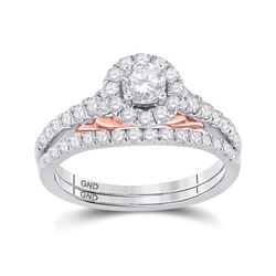 Round Diamond Bridal Wedding Ring Band Set 1 Cttw 14kt Two-tone Gold - REF-98F5W