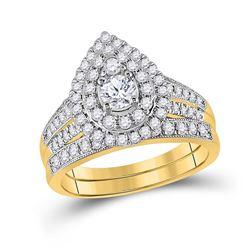 Round Diamond Pear Bridal Wedding Ring Band Set 1 Cttw 14kt Yellow Gold - REF-98Y5N