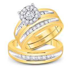 His Hers Round Diamond Solitaire Matching Wedding Set 5/8 Cttw 10kt Yellow Gold - REF-58Y9N