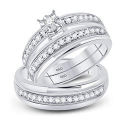 His Hers Round Diamond Solitaire Matching Wedding Set 1/2 Cttw 10kt White Gold - REF-33W9K