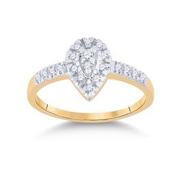 Womens Round Diamond Teardrop Ring 1/5 Cttw 10kt Yellow Gold - REF-14X5A