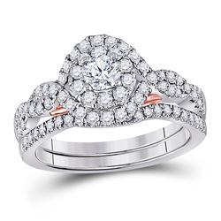 Round Diamond Bridal Wedding Ring Band Set 1 Cttw 14kt Two-tone Gold - REF-98Y5N