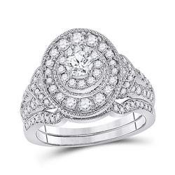 Round Diamond Bridal Wedding Ring Band Set 1 Cttw 14kt White Gold - REF-107R9X