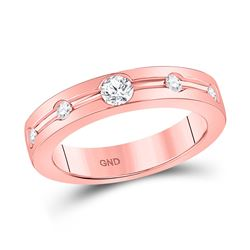 Womens Round Diamond Wedding Band 1/4 Cttw 14kt Rose Gold - REF-49H9R