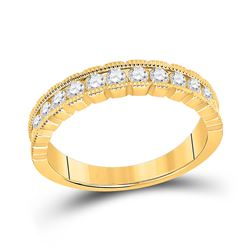 Womens Round Diamond Single Row Band Ring 1/2 Cttw 14kt Yellow Gold - REF-46M5H