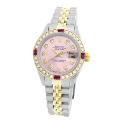 Rolex Pre-owned 26mm Womens Custom Pink Two Tone - REF-530M2R