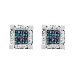 Mens Round Blue Color Enhanced Diamond 3D Cube Square Earrings 3/4 Cttw 10kt White Gold - REF-36F9W