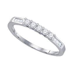 Womens Round Diamond 5-stone Wedding Band 1/3 Cttw 10kt White Gold - REF-17H5R