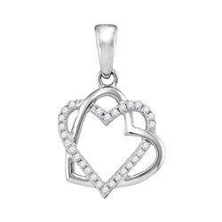 Womens Round Diamond Heart Pendant 1/4 Cttw 10kt White Gold - REF-13W9K
