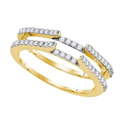 Womens Round Diamond Ring Guard Wrap Solitaire Enhancer 1/2 Cttw 14kt Yellow Gold - REF-44K9Y