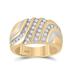 Mens Round Diamond Band Ring 1/2 Cttw 10kt Yellow Gold - REF-37H5R