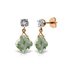 Genuine 17.56 ctw Green Amethyst & Diamond Earrings 14KT Rose Gold - REF-48V3W