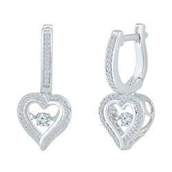 Womens Round Diamond Heart Dangle Hoop Earrings 1/4 Cttw 10kt White Gold - REF-27H9R