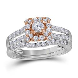 Round Diamond Bridal Wedding Ring Band Set 1 Cttw 14kt Two-tone Gold - REF-65A5M