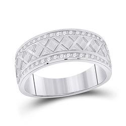 Mens Round Diamond Wedding Crosshatch Band Ring 1/2 Cttw 10kt White Gold - REF-54M5H