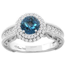 1.45 CTW London Blue Topaz & Diamond Ring 14K White Gold - REF-86W7F